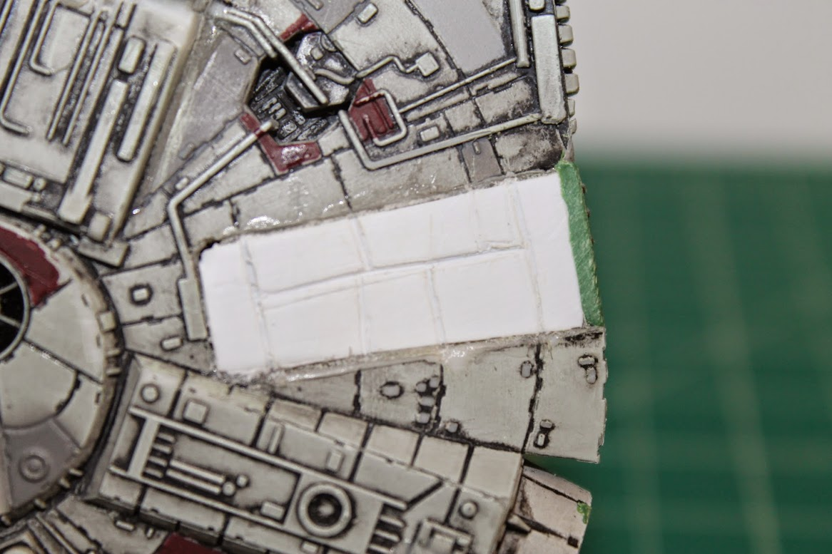 Close-up of plasticard paneling where cockpit tunnel was removed.