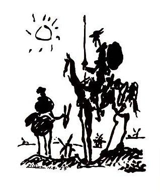 Salvador Dalí.- Don Quijote de la Mancha y Sancho Panza
