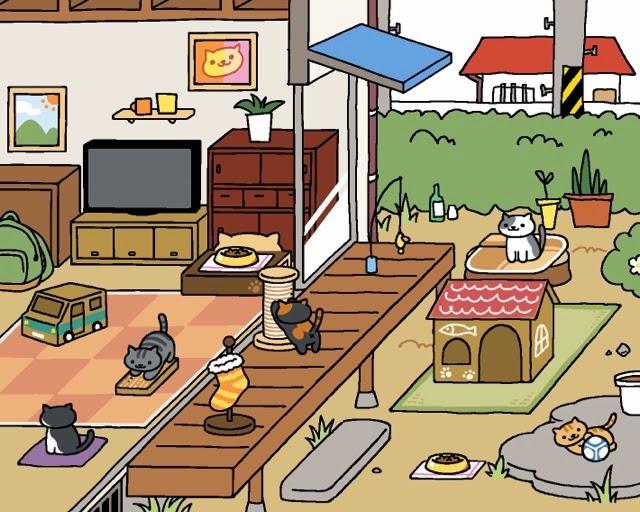 neko atsume gathering cats up on the ladder