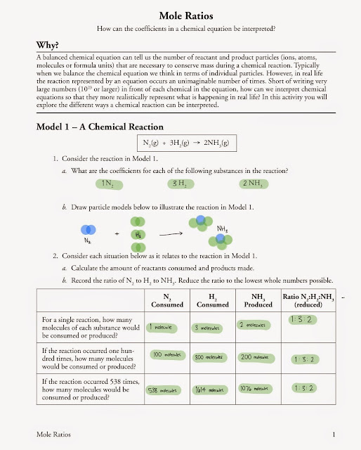 Tom Schoderbek Chemistry Mole Ratios POGIL – Mole Ratio Worksheet