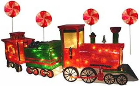lighted outdoor train decorations