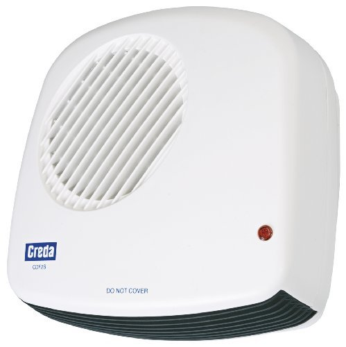 Creda 1kw Compact Wall Mounted Downflow Electric Fan Heater Bathroom Heaters Electric