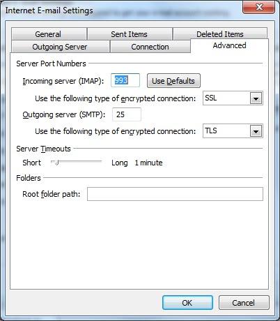 Gmail imap server port settings