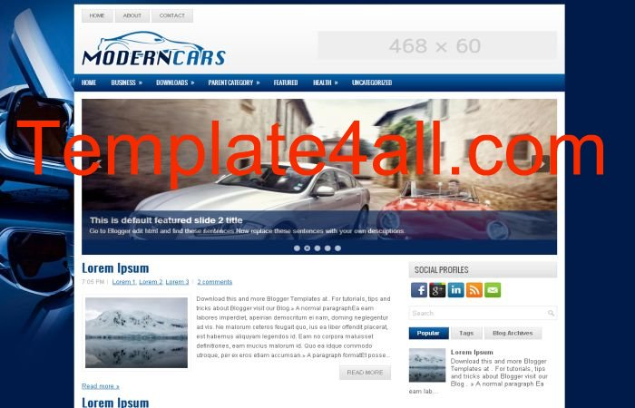 Cars Blogging Blue Blogger Layout Template