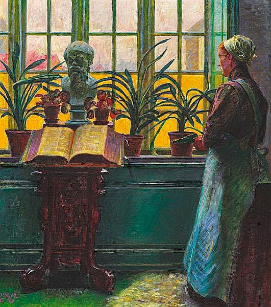 Kristian Zahrtmann - Interior from the artist's Villa Casa d'Antino with the Bible on a table