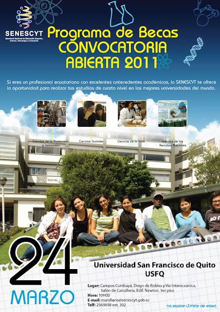 SENESCYT Becas 2011: Charla informativa USFQ, 24 Marzo, 10h00, Salón Cancillería