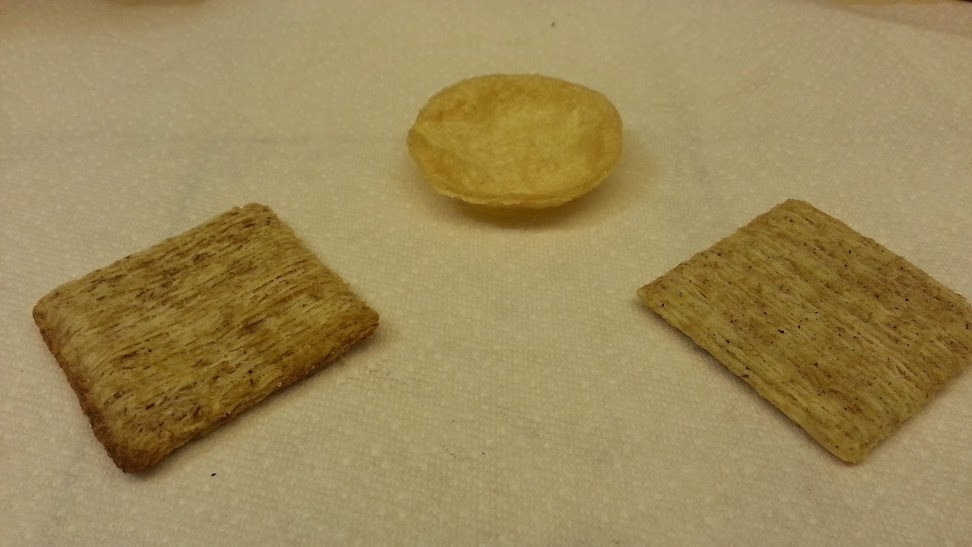 Original Triscuit, Special K Potato Crisps, Triscuit with Cracked pepper and Olive Oil