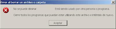 No se puede eliminar el archivo