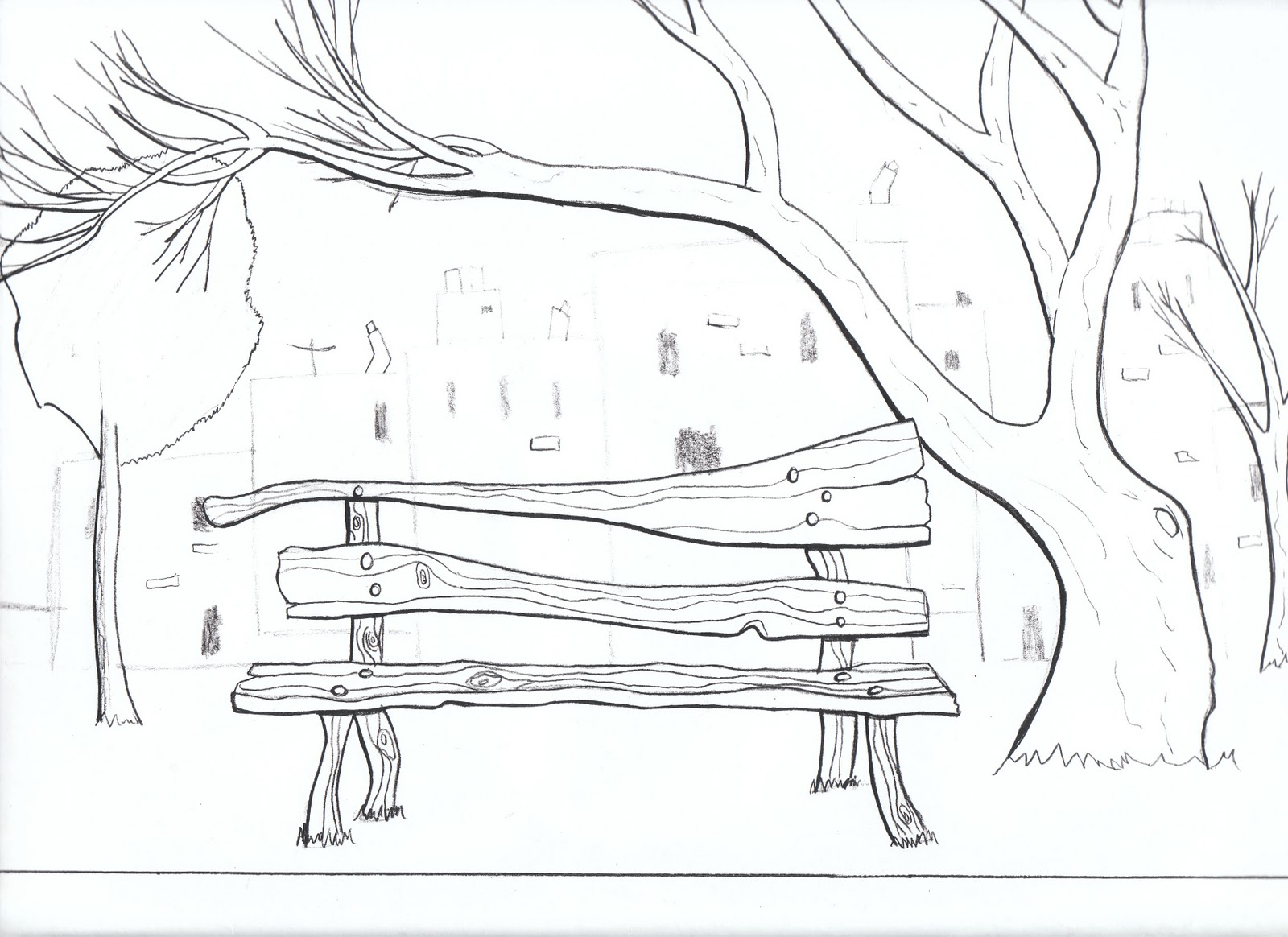 how to draw a bench in perspective