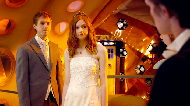 Amy and Rory in the TARDIS after their wedding