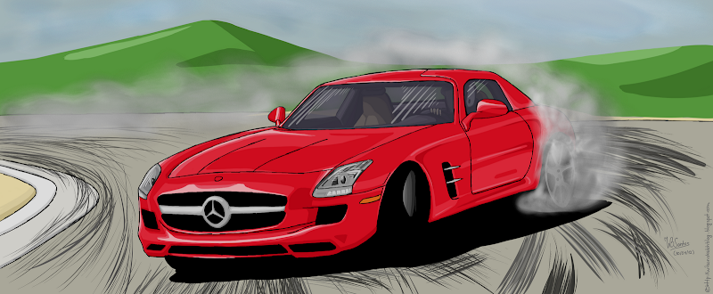 Mercedes-Benz SLS drifting, using Corel Painter.