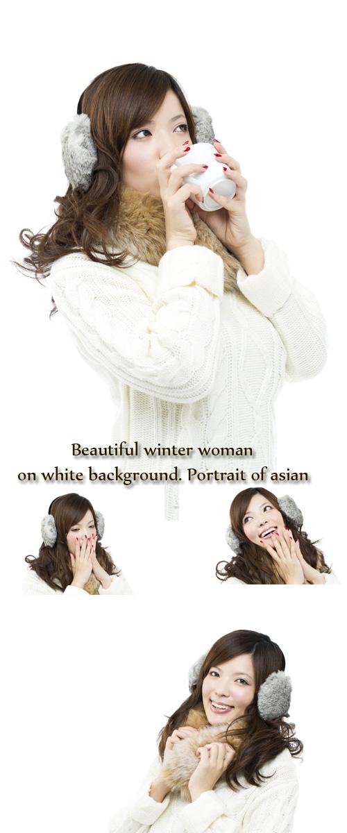 Stock Photo: Beautiful winter woman on white background. Portrait of asian