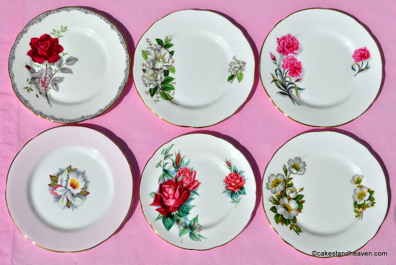 Pink, red and green eclectic floral vintage tea plates
