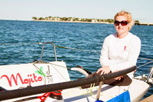 Cat Evans relaxing on J/70 off Key West