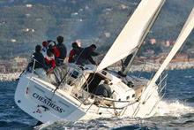 J/133 sailboat sailing upwind