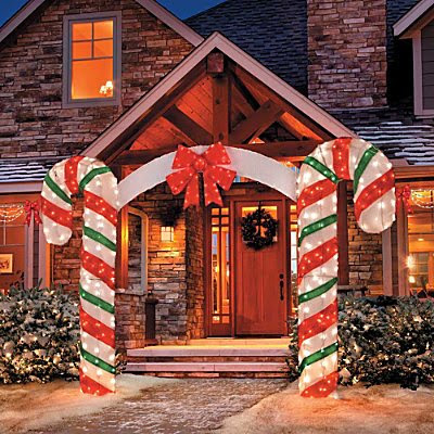 candy cane outdoor christmas decor set of 2 improvements lighted candy cane arch improvements