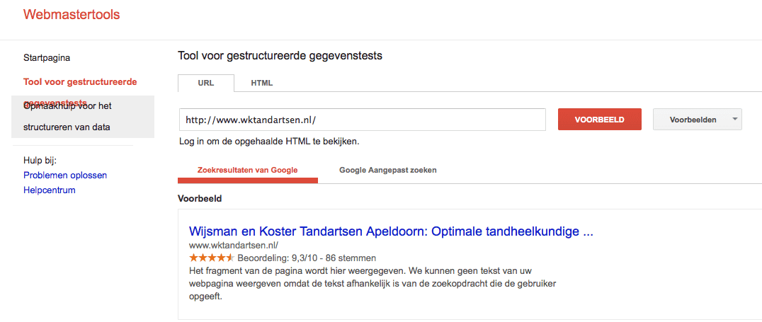 Wel reviewsterretjes in de Google Rich Snippets Testing Tool