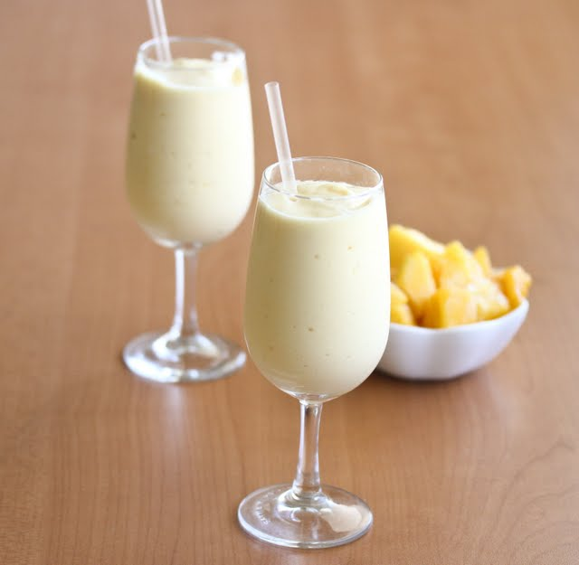 photo of two Mango Lassi