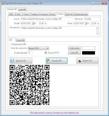 AjpdSoft Generador y lector códigos QR en funcionamiento