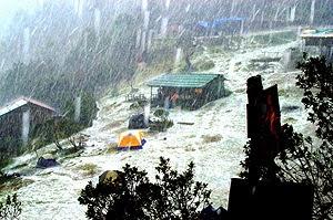Momentos de la lluvia de granizos en El Pital