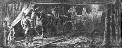 Ponies and small mules were used to pull carts loaded with coal through the low-roofed mines.