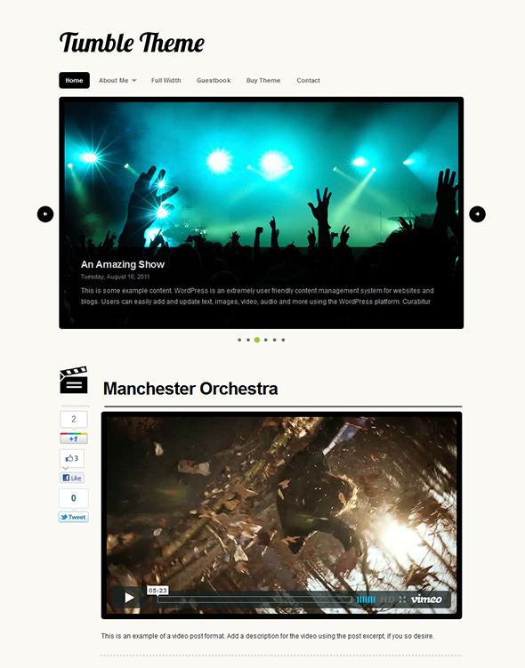 Tumble WordPress Theme for Microblogging
