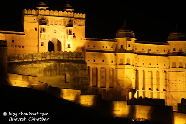 Close-up of Amber Fort by night [also called Amer Fort]