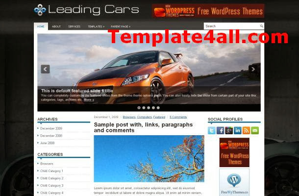 Free Dark Black Cars Blog Wordpress Theme Template