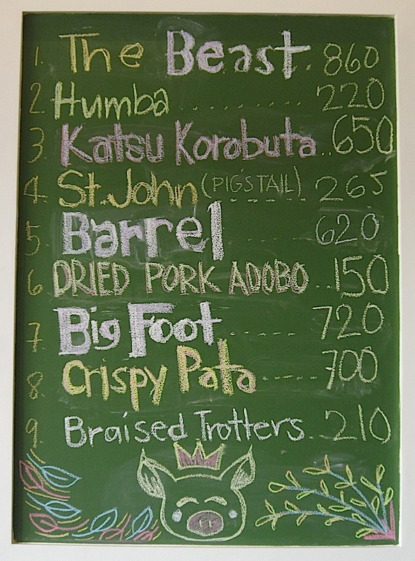 pork cuts price list at Glory Hogs restaurant
