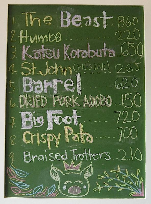 pork cuts price list at Glory Hogs restaurant