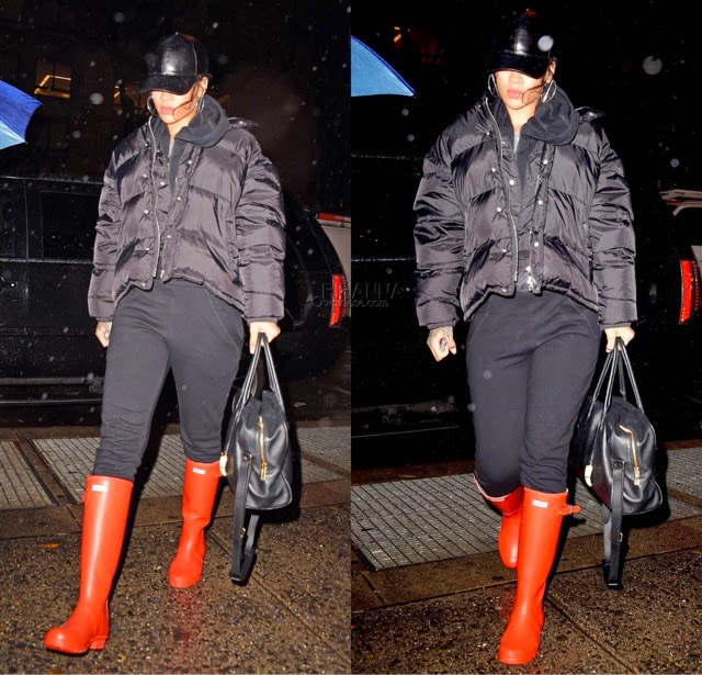 Rihanna in Military Red Hunter Boots
