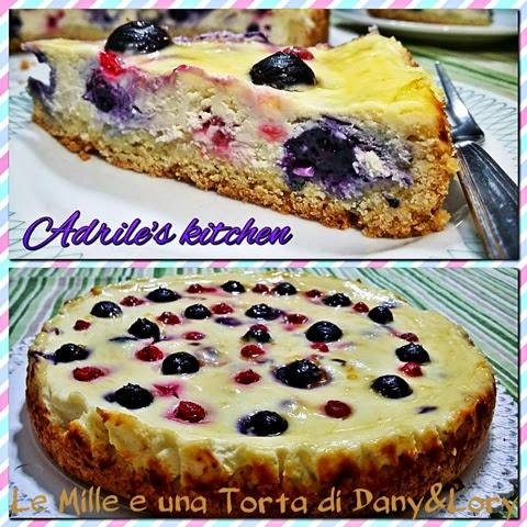 cheesecake con mirtilli e ribes