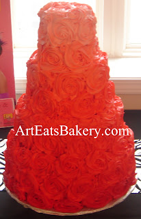 Coral ombre butter cream roses custom wedding cake design