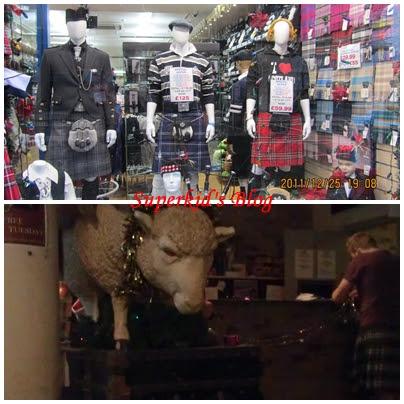 蘇格蘭裙店面與hostel工作人員穿的蘇格蘭裙