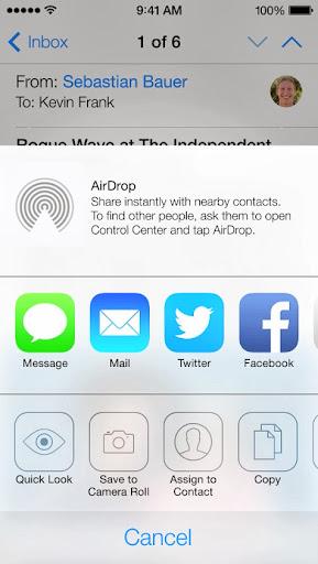 AirDrop app in iOS 7