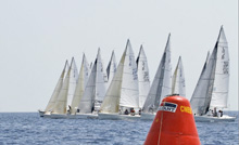 J/80 one-design sailboats- at starting line