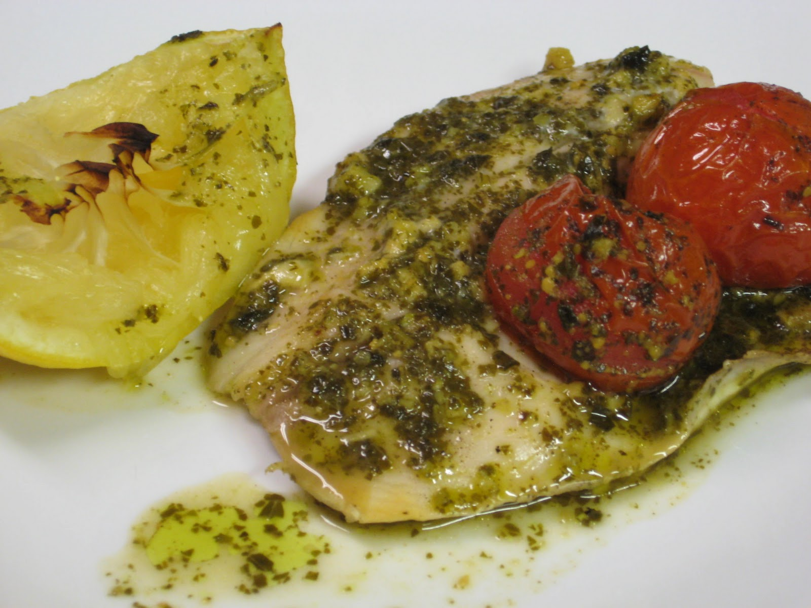 Gimmie S'More: Tilapia with Lemon Pesto and Oven Roasted Tomatoes