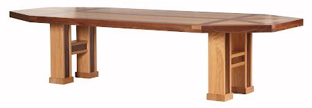 120 x 48 Hagen Table with Custom Tabletop, Custom Border Design, in Natural Oak and Natural Walnut