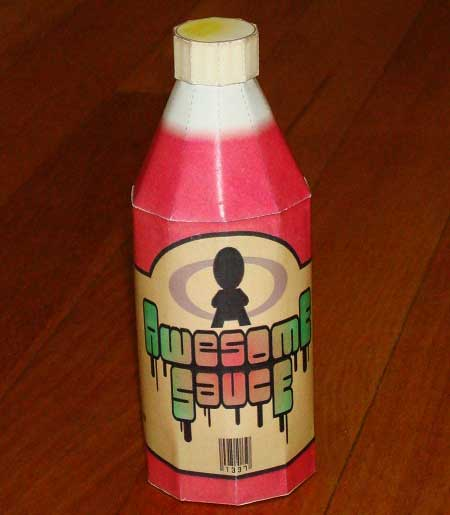 Bottle of Awesome Sauce Papercraft
