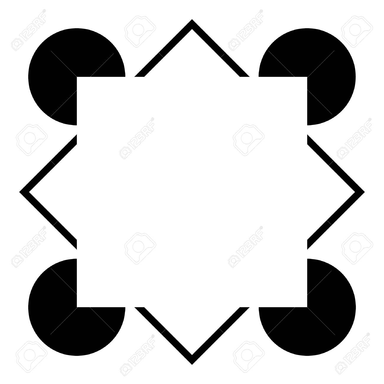 An optical illusion showing varied geometric figures, but no complete square. The illusion is that there is a square there, perceived by your brain, but not really in the drawing.
