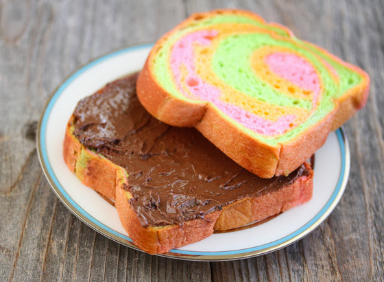photo of rainbow toast topped with nutella spread