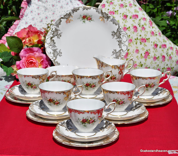 Royal Standard Red Rose and Gold Filigree China Tea Set