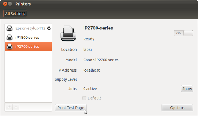 Setup Printer Canon ip2770 | Ubuntu 11.10