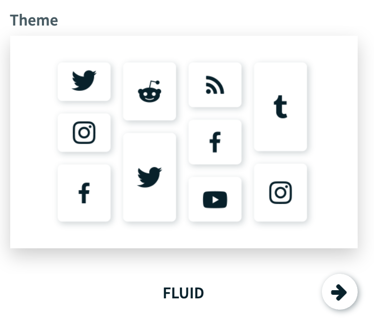 Themes available for a social wall. Th image shows the Fluid theme example.