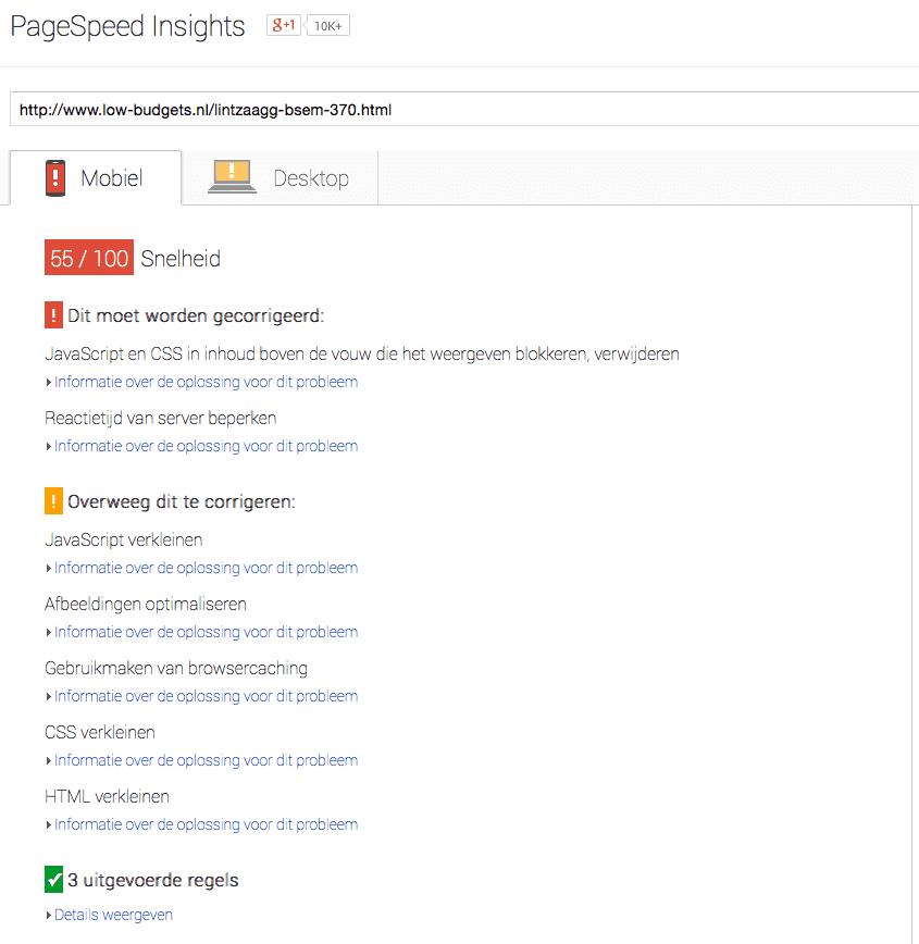 Google Pagespeed Insights voor mobiele versie van http://www.low-budgets.nl