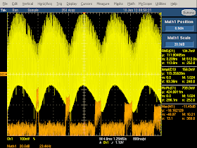 High frequency oscilloscope trace from counterfeit UK iPhone charger