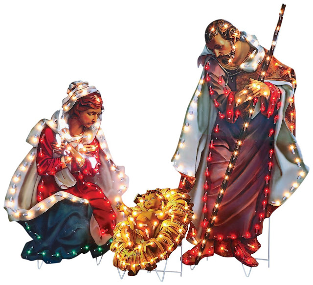 Fontanini by Roman Holy Family Lighted Yard Art 3-Piece 48-Inch
