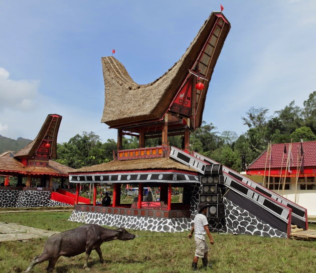 At a funeral ceremony at Tana Toraja, Sulawesi, Indonesia
