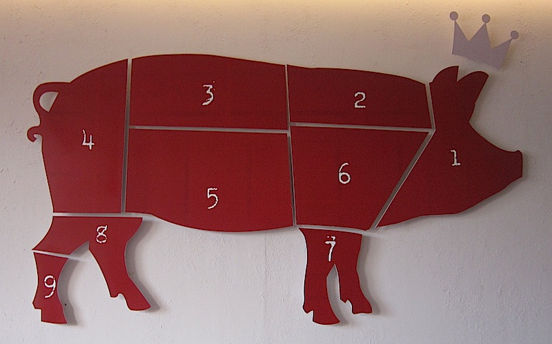 pork cuts sign at Glory Hogs restaurant