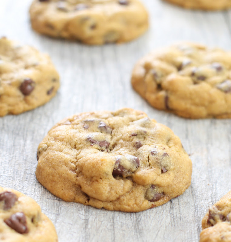 close-up photo of one chocolate chip cookie